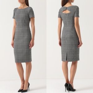 Escada 36 Dhurini Wool Plaid Dress Black White